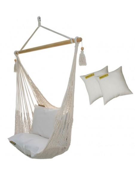 Fotel hamakowy sznurkowy AHC8 z poduszkami