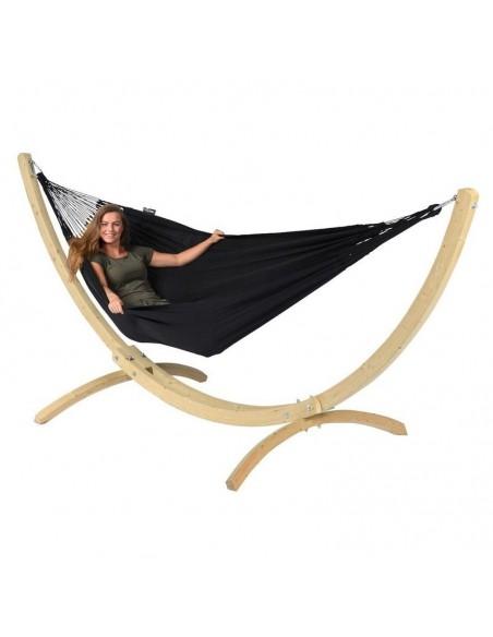 Hamak ze stojakiem drewnianym Comfort Black 2os.