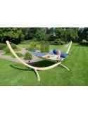 Hamak ze stojakiem drewnianym i poduszką