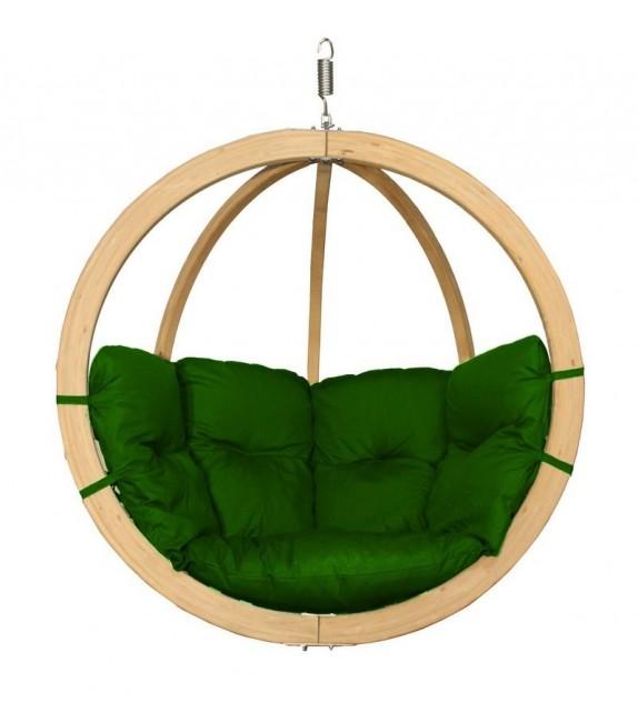 Fotel wiszący drewniany - Bubble Wood Olive