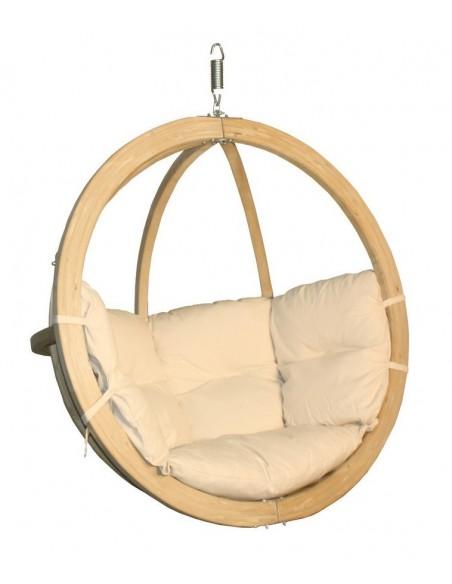 Fotel wiszący drewniany - Bubble Wood Ecru