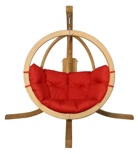Fotel wiszący drewniany ze stojakiem