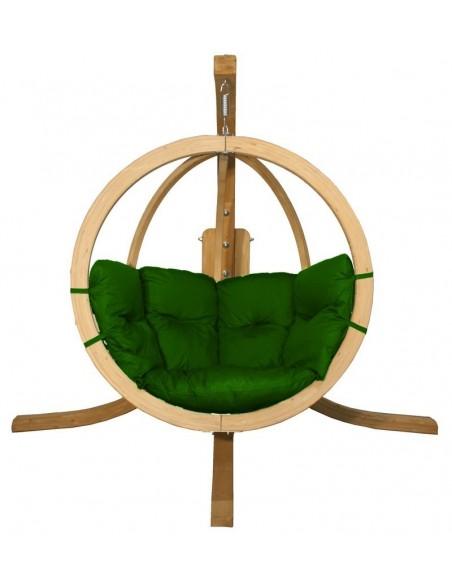 Fotel wiszący drewniany ze stojakiem - Bubble Wood Green