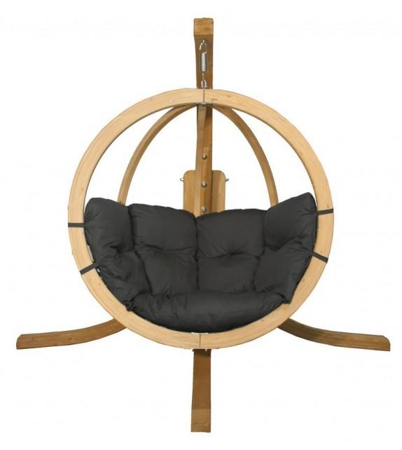 Fotel wiszący drewniany ze stojakiem - Bubble Wood Graphite