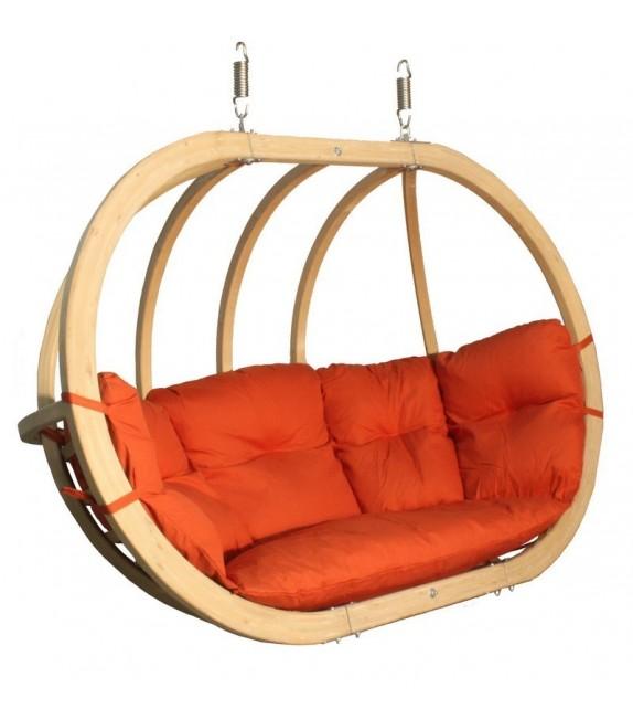 Fotel wiszący drewniany z poduszką