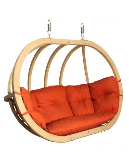 Fotel wiszący drewniany - Bubble Double Wood Red