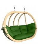 Fotel wiszący drewniany do ogrodu
