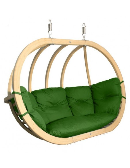 Fotel wiszący drewniany - Bubble Double Wood Green