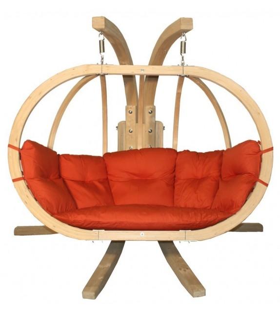 Zestaw - Fotel wiszący drewniany ze stojakiem - Bubble Double Wood Red