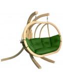 Zestaw - Fotel wiszący drewniany ze stojakiem - Bubble Double Wood Sea Green