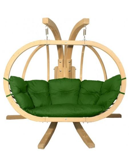 Fotel wiszący drewniany ze stojakiem - Bubble Double Wood Green
