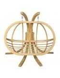 Fotel wiszący drewniany ze stojakiem i poduszką ecru