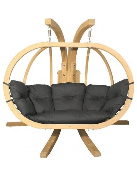 Fotel wiszący drewniany ze stojakiem - Bubble Double Wood Graphite