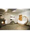 Fotel wiszący drewniany - Bubble Double Wood Ecru