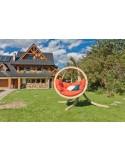 Zestaw - Fotel wiszący drewniany ze stojakiem - Bubble Wood Red