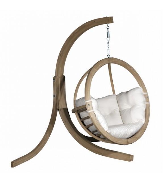 Zestaw - Fotel wiszący drewniany ze stojakiem - Bubble Wood Ecru