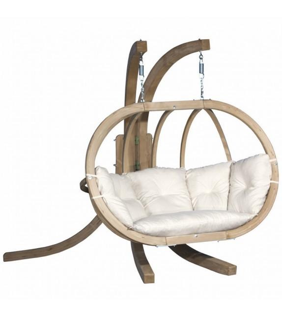Zestaw - Fotel wiszący drewniany ze stojakiem - Bubble Double Wood Ecru