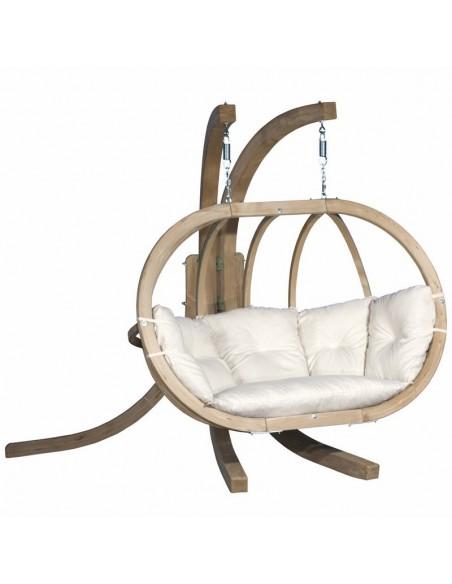 Fotel wiszący drewniany ze stojakiem - Bubble Double Wood Ecru