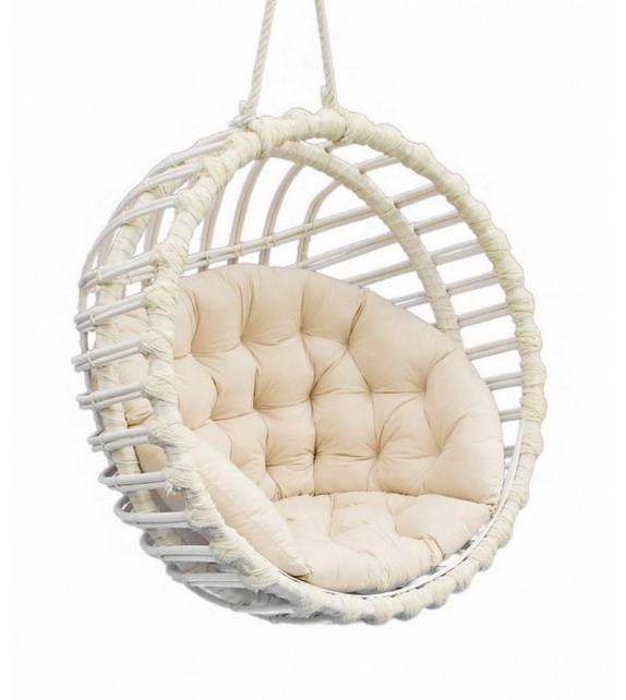 Fotel wiszący wiklinowy Kula Biała