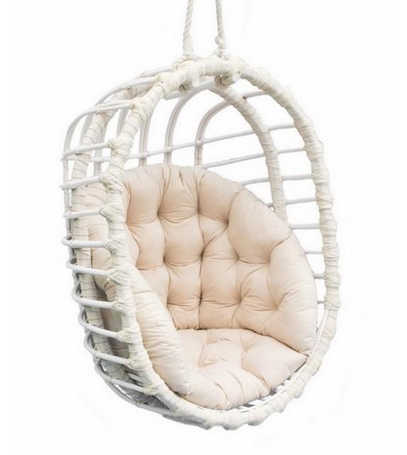 Fotel wiszący wiklinowy Owal Biały