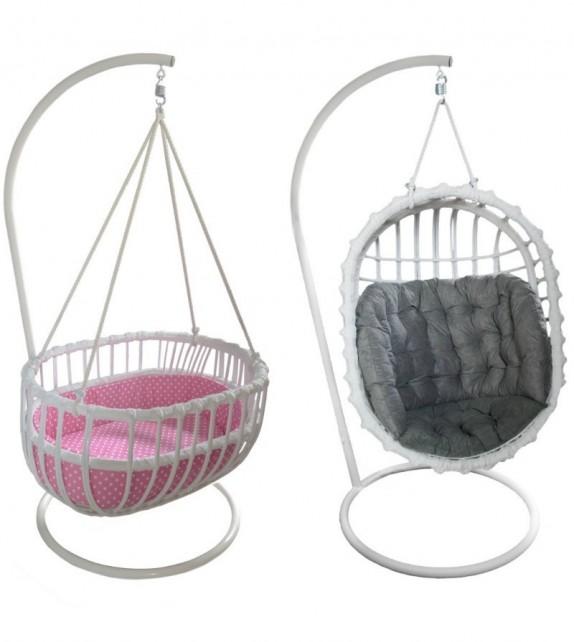 Fotel wiszący wiklinowy/ Kołyska 2w1
