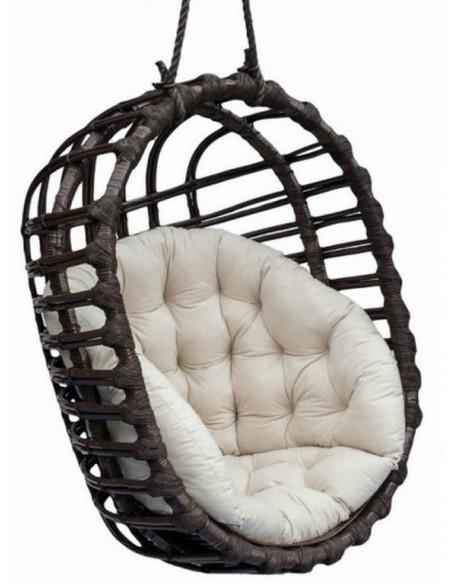 Fotel wiszący wiklinowy Owal Czarny