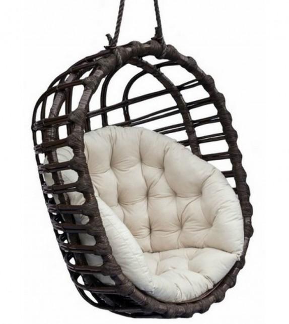 Fotel wiszący wiklinowy Owal Czarny - Outlet