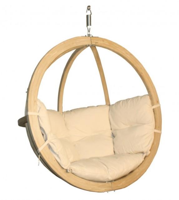 Fotel wiszący drewniany - Bubble Wood Cappuccino