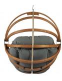 Fotel wiszący drewniany - Gaya Grafit