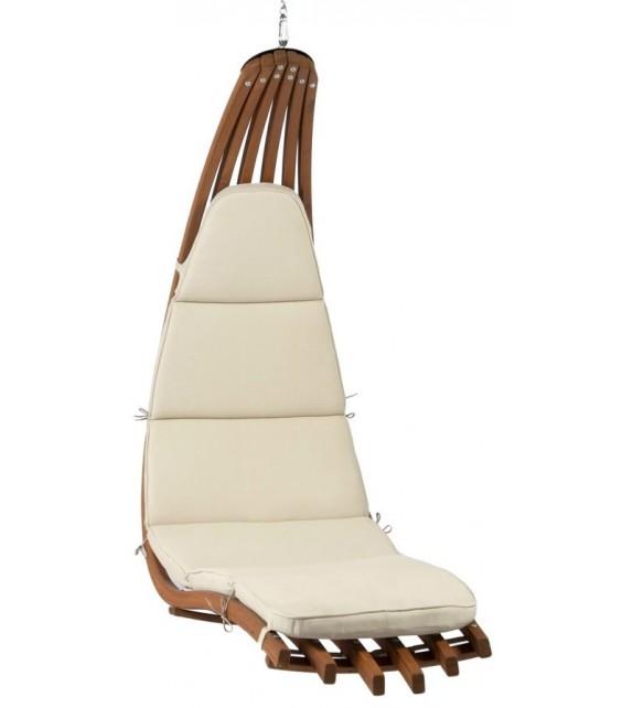 Fotel wiszący drewniany - Leżanka Wave Beż