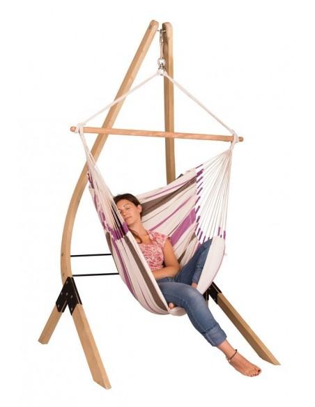 Fotel hamakowy Caribena ze stojakiem drewnianym Vela