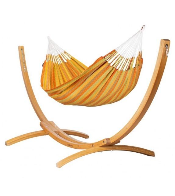 dwuosobowy hamak ze stojakiem z drewna