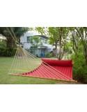 elegancki hamak ogrodowy z poduszką